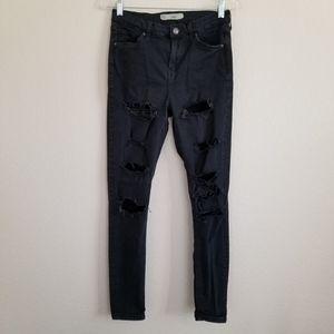 Topshop Moto Jamie Black Distressed Skinny Jeans